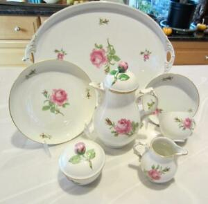 FAB! 7-pc Breakfast Coffee Set For One wTray PINK ROSE Furstenberg Germany 1930s