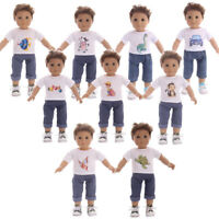 For 18-inch American Girl Doll Clothes Handmade Male doll T-shirt + jeans suit