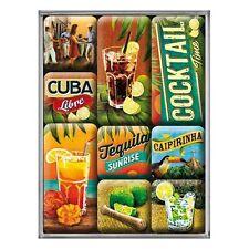 SET DE 9 MAGNETS : COCKTAILS DIVERS : CUBA LIBRE, CAIPIRINHA, TEQUILA SUNRISE...