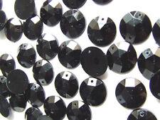 240 Black Faceted Beads Acrylic Rhinestones/Gems 12 mm Round Flat Back Stitch On