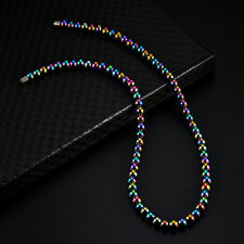 Men Women Colorful Hematite Magnetic Beads Strand Choker Necklace Magnet Clasp