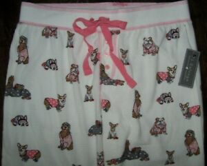 NWT PJ Salvage Ivory/Pink DOGS IN JAMMIES Thermal Fleece Pajama/Lounge Pants L