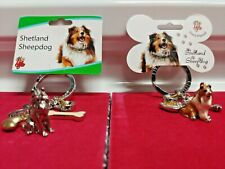 Little Gifts Shetland Sheepdog Dog Breed Key Chain With Charm Pewter Enamel Gift