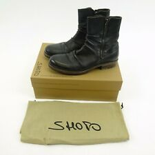 SHOTO  Black Zipper Side Ankle Italian Leather Boots Size 8