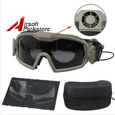 Tactical Airsoft Motorcycle Regulator Goggles Glasses With Fan & 2 Lens DE