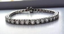 "10.10 ct F VS2 round diamond 4 prong classic tennis bracelet 14k white gold 7"""