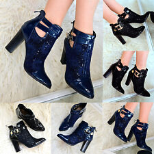 Ladies Ankle Boots Glossy Patent Leather & Floral Mesh High Block Heel Booties