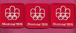 3 X RARE VINTAGE 1976 MONTREAL SUMMER OLYMPICS RED PATCH (INV# D1515)
