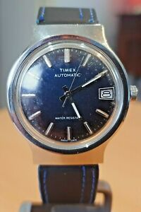 Vintage French cased Timex blue dial automatic mens watch