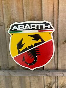 Cast Iron Fiat Abarth Sign Wall plaque Garage Man Cave Fence