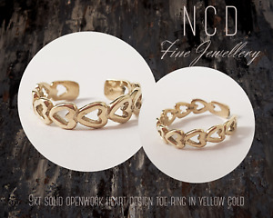 NC Designs 9kt solid openwork heart design toe-ring in yellow gold