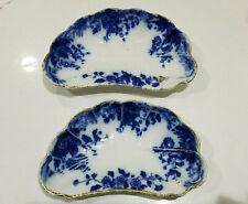 Set of 2 Antique WH Grindley Marguerite Pattern Flow Blue Gold Rim Bone Dishes
