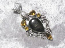 Huge Cat Eye and Citrine Gemstone Pendant - 925 Silver Plated
