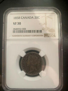 1858 Canada Silver 20 Cents NGC VF30 20c
