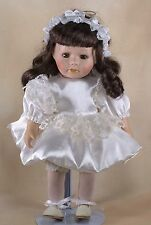 """Leonardo Collection Porcelain Doll 12"""" Brown Hair Brown Eyes With Eyelashes"""