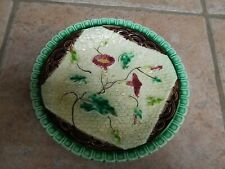 ANTIQUE MAJOLICA  MORNING  GLORY FLORWERS & LEAVES ON NAPKIN PLATE