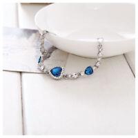 Damen Silber Blau Kristall Herz Strass Armreif Armband Armschmuck neu