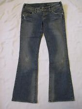 New Womens Size 30/33 Silver Pioneer Blue Jeans Measure 30x32.5 Factory Distress