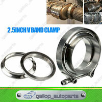 "Universal 2.5"" Inch Exhaust V-band Vband Clamp Flange Kit 64mm Turbo Downpipe"