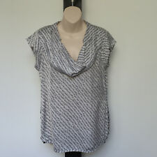 'JACQUI.E' EC SIZE '10' GREY, TAUPE & WHITE SILKY CAP SLEEVE COWL NECK TOP