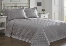Portfolio Faux Silk Bedspread and 2 Pillowcase Quilted Throw Over Set Silver