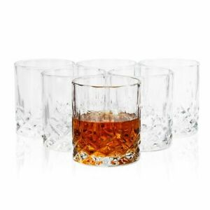 6Pc Whiskey Glasses, Crystal Lowball Cups for Scotch, Bourbon, Cocktails, 11oz