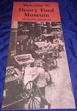 RF2373 Vtg Henry Ford Auto Museum Dearborn MI Sales Brochure