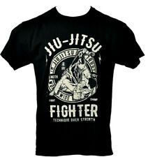Men's Bjj Brazilian Jiu Jitsu Black Jiu Jitsu Fighter Theme T-Shirt Size L T062