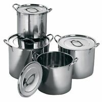 4PC DEEP STAINLESS STEEL STOCK SOUP POT STOCKPOT CATERING BOILING CASSEROLE STEW