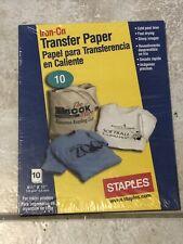 Staples T-shirt Transfers for Inkjet Printers 10 Sheets Unopened #472864-us