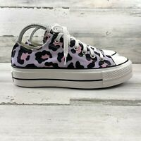 Converse Chuck Taylor All Star Leopard Sneaker Platform Low Top Lace Up Women 8