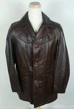 Vintage Brown Leather Jacket Zip Liner Sears 42 Tall Mod Retro Disco Og
