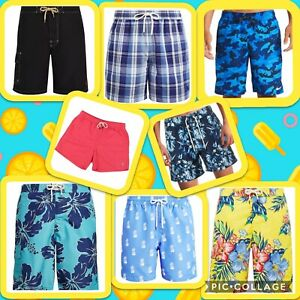 NWT Polo Ralph Lauren HAWAIIAN Swim Trunks Floral Blue Yellow Plaid Solid Men's