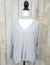 Lumiere Womens Top Choker Neckline Dolman Long Sleeve Gray Size Medium
