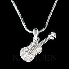 w Swarovski Crystal Music Folk Dainty ~ACOUSTIC GUITAR~ Jewelry Musical Necklace