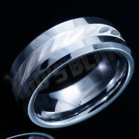 8MM Tungsten Carbide .925 Sterling Silver Inlay Mens Womens Wedding Band Ring