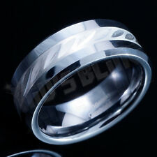 Carboneto de tungsténio 8MM .925 Sterling Silver Inlay Masculino Feminino Anel Banda De Casamento