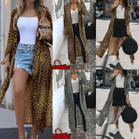 Womens Long Sleeve Cardigan Leopard Print Kimono Ladies Tops Blouse Coat Jacket