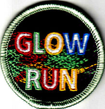 """""""GLOW RUN"""" - Iron On Embroidered Patch - Sports, Words, Running,Exercise"""