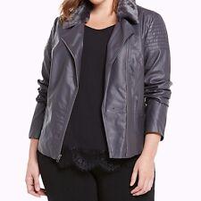 Torrid Lace Up Back Faux Fur Collar Moto Jacket Gray 4X 26 4 #97654