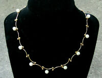 """Vintage Signed CAROLEE Necklace Gold Tone With Dangling Faux Pearls 16"""" Long"""