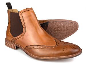 Premium Mens Tan Leather Brogue Chelsea Boots Free UK P&P!