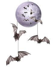 "30"" Hanging Bats And Moon Halloween Mobile Scene Setter Halloween Decorations"