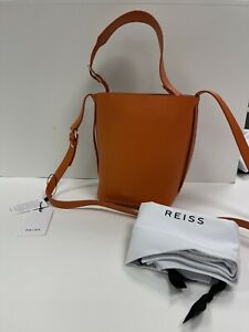Brand New Reiss Hudson Mini Leather Bucket Bag, Moroccan Flame