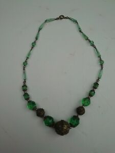 Victorian Antique Green Cut Glass Necklace