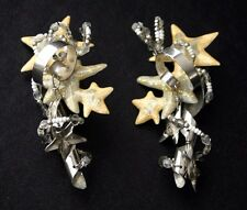LUNCH AT THE RITZ Silver Star Streamer Earrings 1986