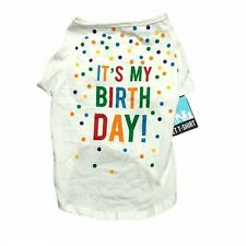 Pet T-Shirt White Cotton It's My Birthday XL Polka Dot Short Sleeve Outfit