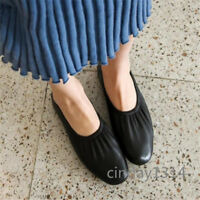 New Women Fold Casual Women Genuine Leather Shoes Soft Flat Loafers Solid