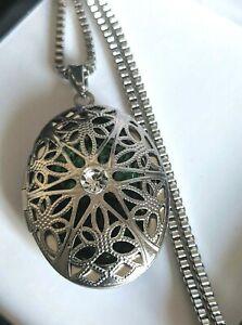 Silver Steel Large Oval Vintage Floating Emerald Green Gem Locket Necklace UK