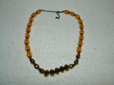 Neat Beaded Necklace with Translucent Amber & Metallic Gold Beads